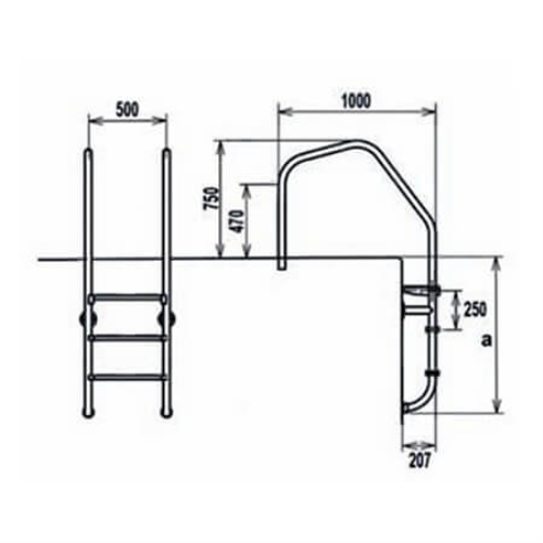 AQUA Muro Tip Merdivenler (AISI 316)
